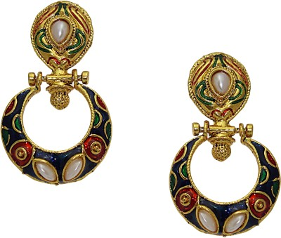 Aarnaa Blue And Marron Gold Plated Earing Alloy Chandelier Earring
