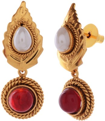 Gehnamart Leaf Design Ruby Alloy Drop Earring