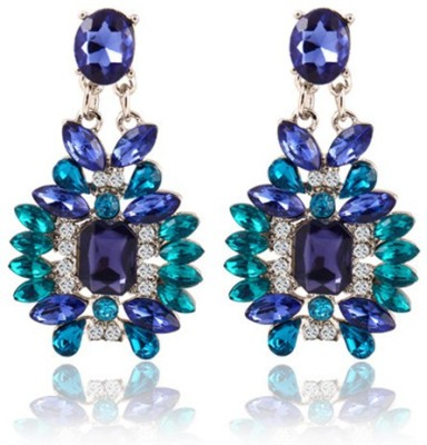 Bling N Beads Crystal Metal, Silver Drop Earring