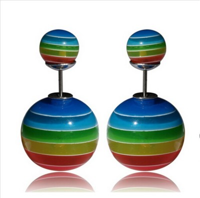 Lady Rainbow Candy Multi Stripe Cubic Zirconia Ceramic Plug Earring