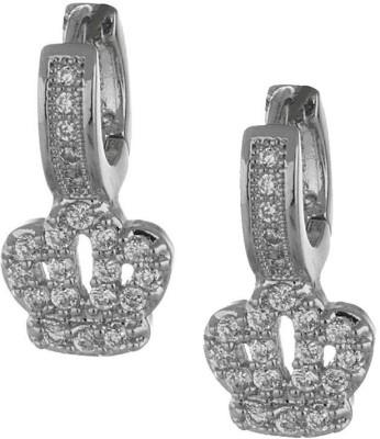 Beingwomen Elegant Rhodium Plated CZ Fashion Cubic Zirconia Alloy Hoop Earring