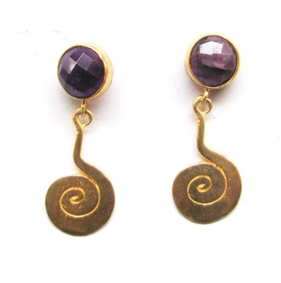Bhrti semi precious Gold plated Amethyst Brass Dangle Earring