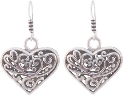 T M FASHIONS Heart shaped German Silver Dangle Earring