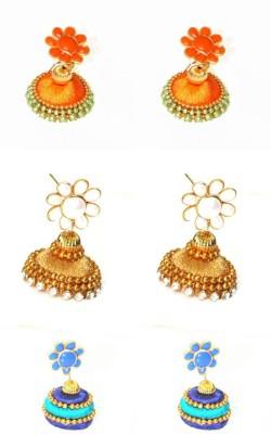 Craftworks orange, gold and blue color Silk Dori Jhumki Earring