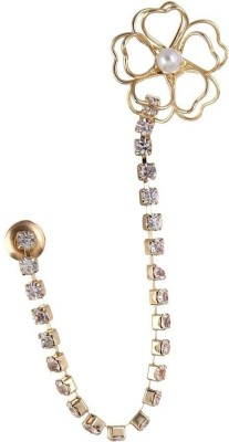 Fayon Fabulous Statement Golden Tiny Rhinestone Wire Unique Crystal Alloy Cuff Earring
