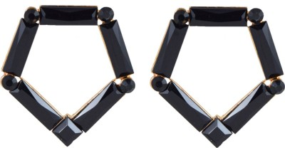 Harini Designer Black Polygon Shape Alloy Stud Earring