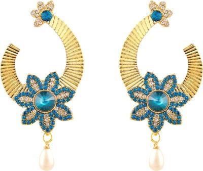 REEVA FASHION JEWELLERY BLUE STONE WITH PEARL DROP Blue Sapphire Zinc Dangle Earring
