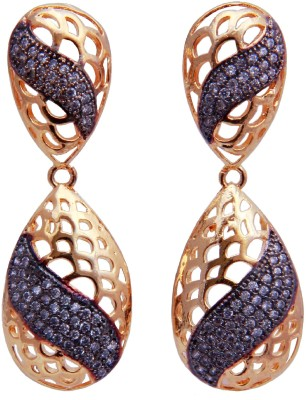 YUVEN Golden & Black With AD Brass, Alloy Drop Earring