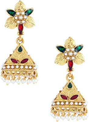 Gold & More Kundan & Meenakumari Pearl, Cubic Zirconia Alloy Jhumki Earring