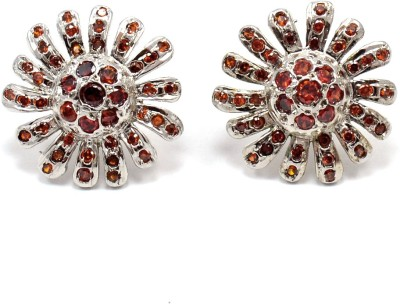 Silvesto India 734 Garnet Stone Stud Earring
