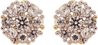 Rays Cubic Zirconia Brass, Copper Stud Earring