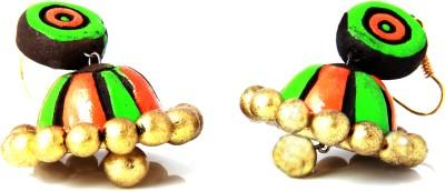 Adaa Handmade Vibrant Colored Jhumka (Green and Gold) Terracotta Jhumki Earring