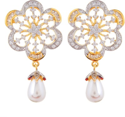 Moda Stella Shining Flower Brass Drop Earring