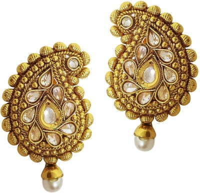 Mehrunnisa Traditional Ethnic Paisley Gold Tone Kundan Crystals & Pearl Copper Stud Earring