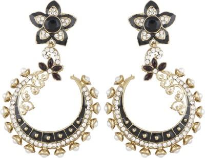 Radius Floral Black Zircon Metal Chandbali Earring