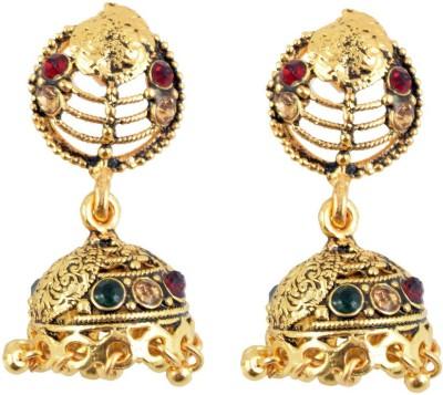 Diovanni Fancy Flower With Hanging Golden Metal Jhumki Earring