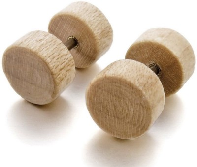 gadgetsden Retro Natural Solid Wood Barbell Wood Plug Earring