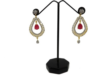 Bharat Sales Style Diva Pink Color In American Diamond Cubic Zirconia Copper Drop Earring
