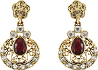 Donna Red Floral Decal Crystal Metal Drop Earring