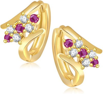 Meenaz Colourful Ruby & White Cubic Zirconia Alloy Huggie Earring