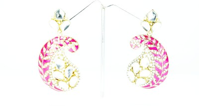 Chouhan Stylish pink leaf Metal Chandbali Earring