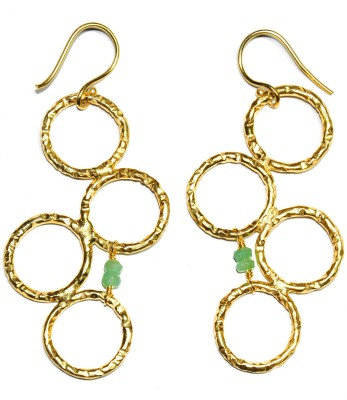 Casa De Plata Round Green Aqua Brass Earring Aquamarine Brass Dangle Earring