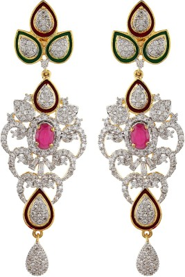Moda Stella Maroon Color Stone With Green & Red Meenakari Cubic Zirconia, Zircon Brass Chandelier Earring