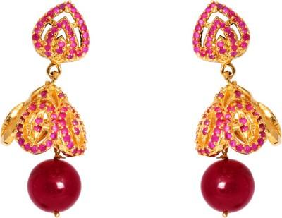 Abhijewels Pink American Diamond Studded Gold Plated Alloy Jhumki Earring