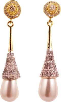 Ojas Jewels Passionate Pearl Zircon, Pearl Alloy Drop Earring
