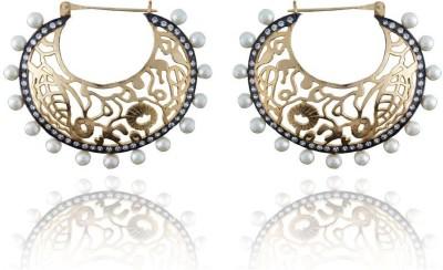Pearls Cart Antique Golden Royal Meena Work Alloy Huggie Earring