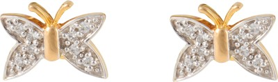 Gothis White Butterfly Gold Stud Earring