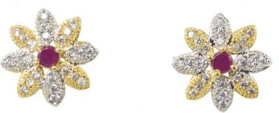 Jewelskaro American Diamond Ruby Brass Stud Earring