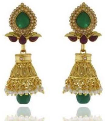 Happyshoppi Gold Plated Pearl Brass, Copper Jhumki Earring