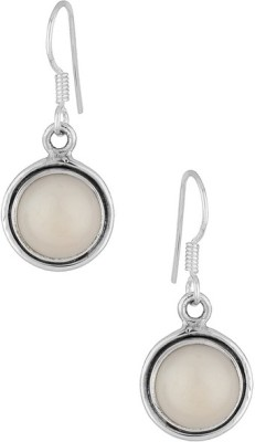 Gemshop STUNNING STERLING 92.5 STUDDED WITH MOTI Silver Hoop Earring