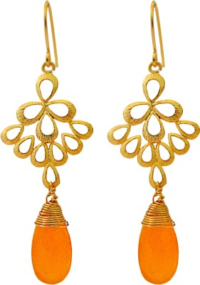 Oumya Jewels Chalcedony Brass Drop Earring