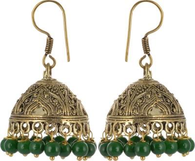 Subharpit Green Beautiful Jhumki Love Choice Beads Metal Jhumki Earring