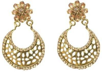 ACW Gold Plated Chandbanli with Golden Stones Alloy Chandbali Earring