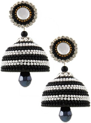 Jaipur Raga Designer Black Look Hancrafted Artificial Ball Chain Jhumka Brass Jhumki Earring