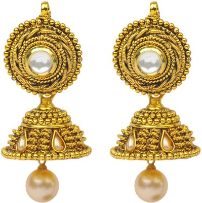 Jillcart White Ruby Stone With Shell Pearl Ruby Copper Jhumki Earring