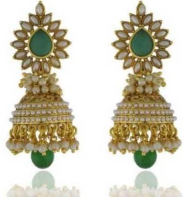 Happyshoppi Fancy Pearl Brass, Copper Jhumki Earring
