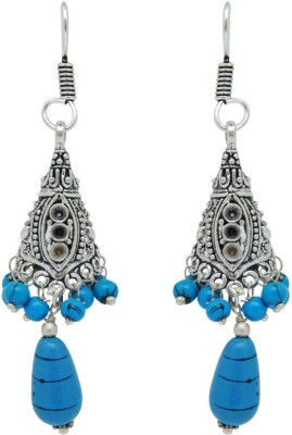 Jaipur Mart Indian Fashion Design Oxizied Ferozi Glass Stone Brass Dangle Earring