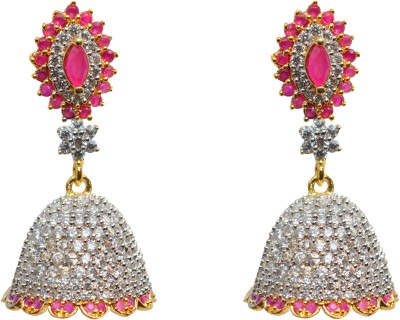 Jdj Imitation Jewelleris RED JHUMKI Cubic Zirconia Brass Jhumki Earring