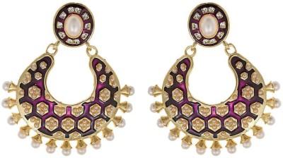 Amroha Crafts Purple Tradtional Matka Alloy Chandbali Earring