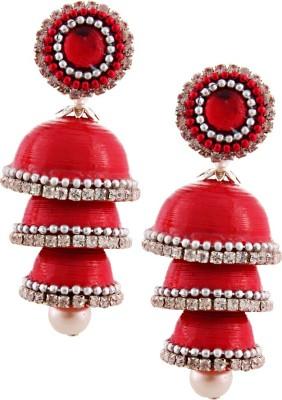 Jaipur Raga Hancrafted Single Stud Red Triple Jhumka Brass Jhumki Earring
