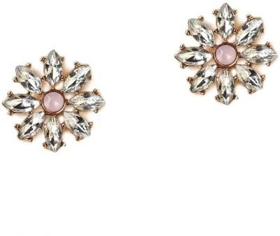Oomph Gold, White & Lavendar Crystal Fashion Jewellery for Women, Girls & Ladies Metal Stud Earring