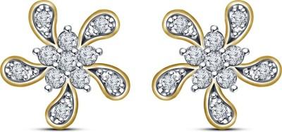 Kirati lovely Flower Shape Cubic Zirconia Sterling Silver Stud Earring