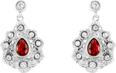 Donna Red Floral Drop Crystal Metal Drop Earring