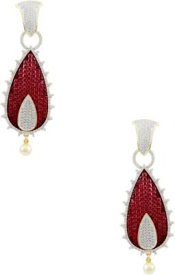 Orniza CZ Diamond Earrings in Ruby Color with Golden Polish Brass Drop Earring