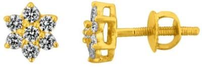 JPearls Flower Cubic Zirconia Gold Stud Earring