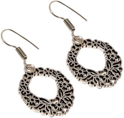 Sanaa Creations Fancy Flower Shape Oxide Silver Plated Alloy Dangle Earring